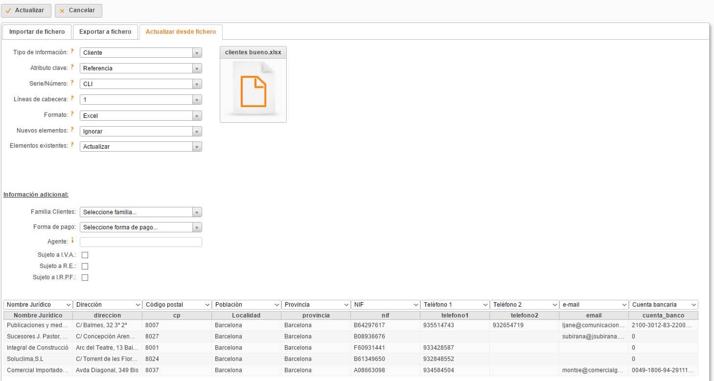 Actualizar datos desde un archivo Excel